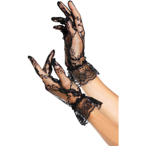 Leg Avenue Lace Ruffle Gloves Black Evening Burlesque Goth