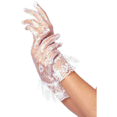 Leg Avenue Lace Ruffle Gloves White Evening Burlesque