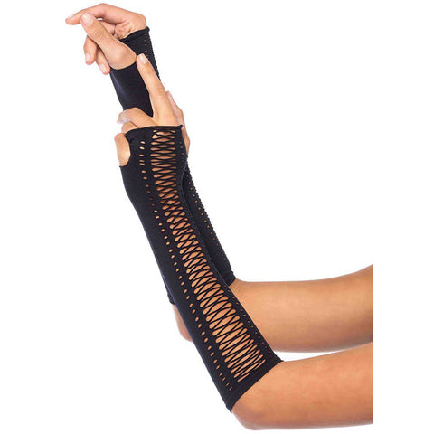 Leg Avenue Lace Up Fingerless Gloves Black Goth Punk Festival Halloween