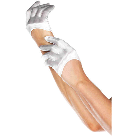 Leg Avenue Mini Cropped Satin Gloves White Short