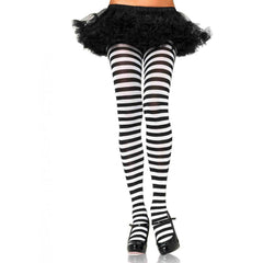 Leg Avenue Nylon Striped Tights Black/White Hosiery