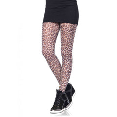 Leg Avenue Paper Print Leopard Tights Tan Animal Print Hosiery