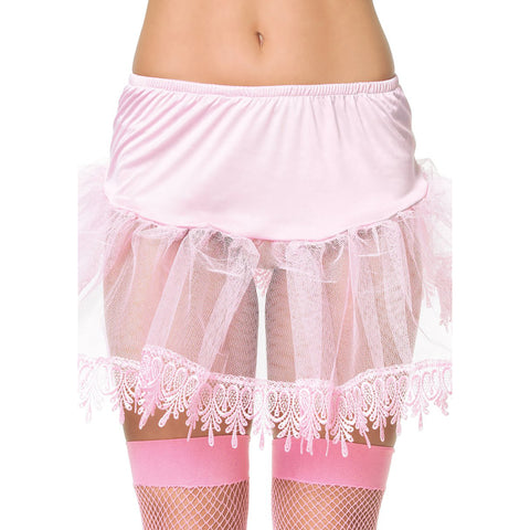 Women's Leg Avenue Petticoat With Teardrop Lace Pink Retro Rockabilly Pin Up