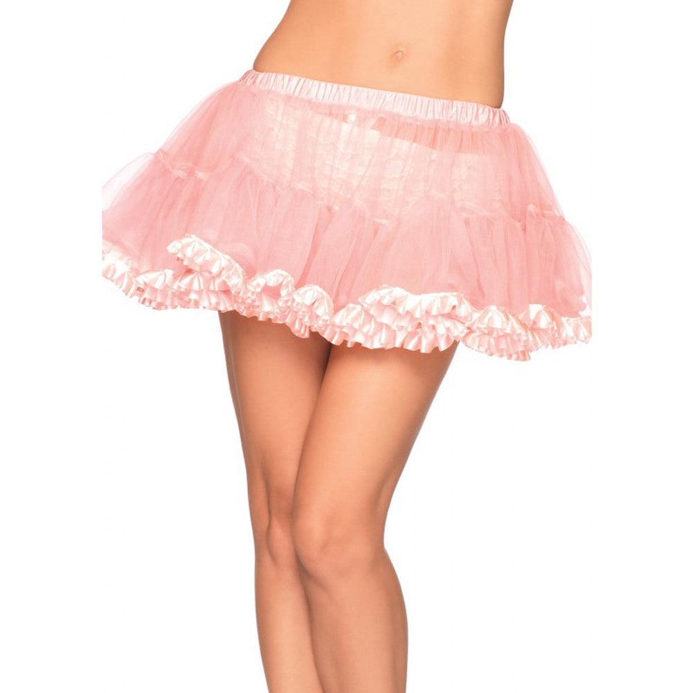 Leg Avenue Pleated Satin Trim Petticoat Pink Retro Vintage Rockabilly Pin Up