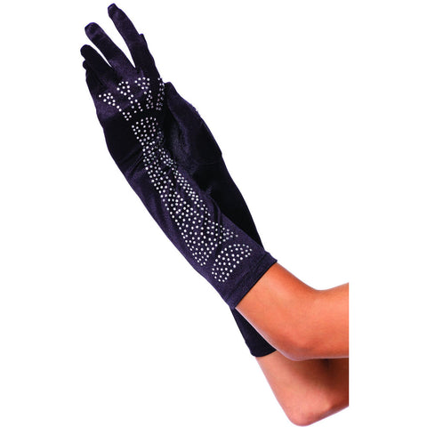 Leg Avenue Rhinestone Bone Elbow Length Gloves Black Goth Halloween