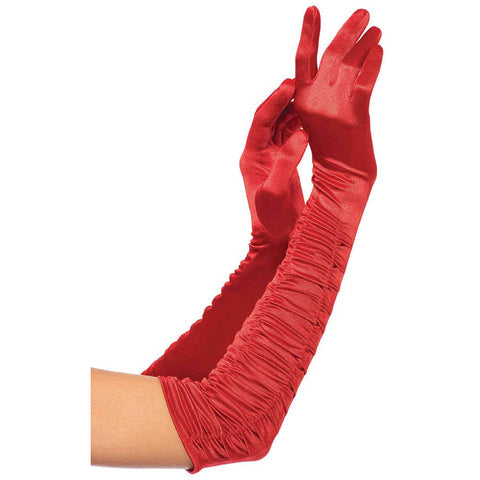 Leg Avenue Ruched Satin Gloves Red Evening Burlesque