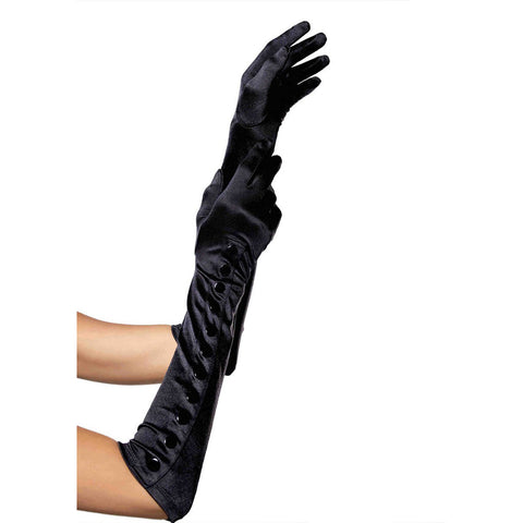 Leg Avenue Satin Gloves With Snap Button Detail Black Evening Burlesque