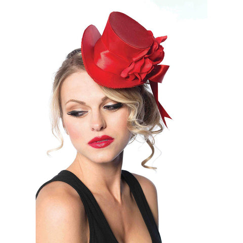 Women's Leg Avenue Satin Top Hat With Flower Red Burlesque Halloween