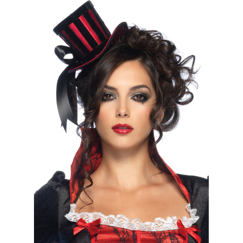 Women's Leg Avenue Satin Top Hat With Stripes Black/Red Burlesque Halloween