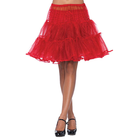Women's Leg Avenue Shimmer Knee Length Petticoat Red Retro Rockabilly Pin Up