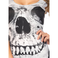 Leg Avenue Skull Garter Dress White/Black Goth Punk Halloween