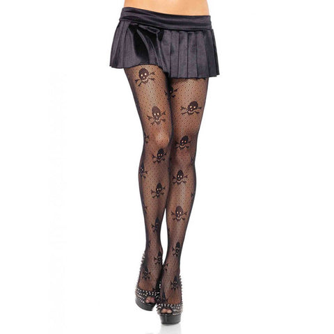 Leg Avenue Skull Print Pantyhose Black Punk Goth Alternative Sexy