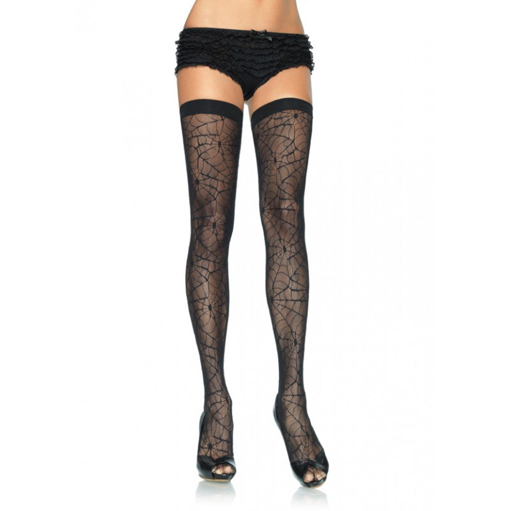 Leg Avenue Spider Lace Thigh Highs Black Punk Goth Alternative Halloween
