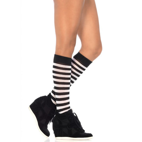 Leg Avenue Striped Knee Highs Black/White Punk Alternative