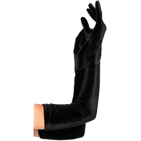 Leg Avenue Velvet Opera Length Gloves Black Evening Burlesque