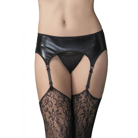 Leg Avenue Wet Look Garterbelt Black Sexy Lingerie
