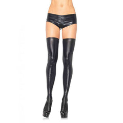 Leg Avenue Wet Look Thigh Highs Black Sexy Fetish Punk Goth Hosiery