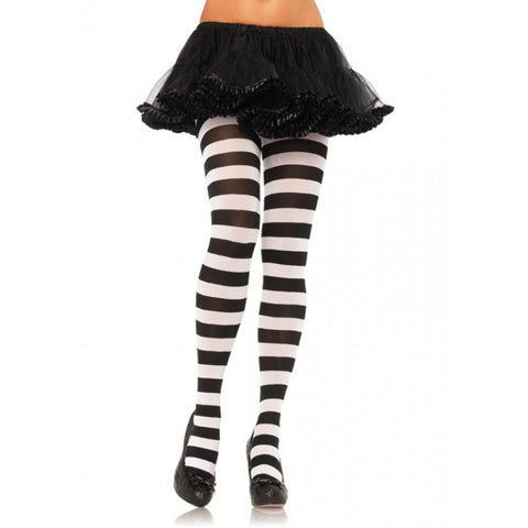 Leg Avenue Wide Stripe Opaque Tights Black/White Hosiery