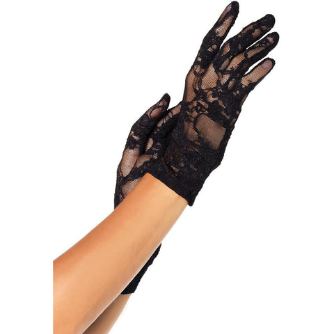 Leg Avenue Wrist Length Lace Gloves Black Evening Burlesque Goth