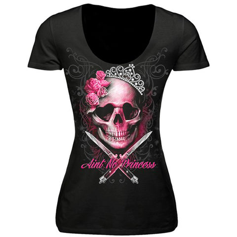Womens Lethal Angel Ain't No Princess Scoop Neck T-Shirt Skull Crown Switchblade