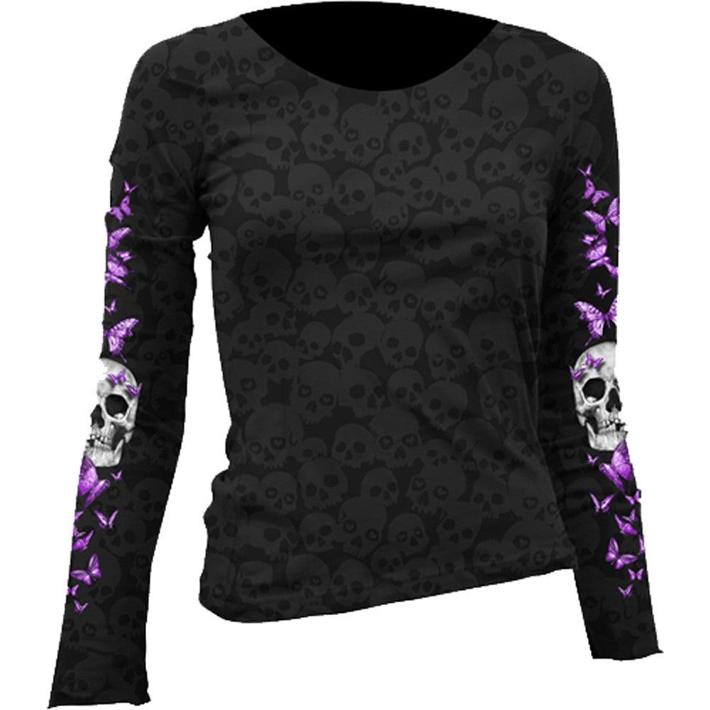Women's Lethal Angel Butterfly Skull Long Sleeve Burnout T-Shirt Black Punk