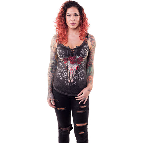Women's Lethal Angel DOD Western Skull Lace Up Tank Top Sugar Skull