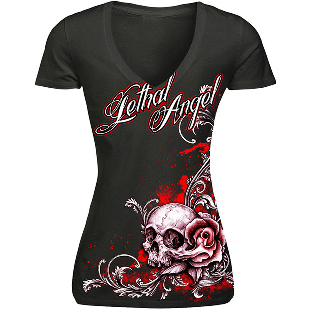 Women's Lethal Angel Floral Skull Rose Red V-Neck T-Shirt Roses Filigree Tattoo