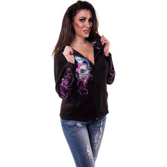 Women's Lethal Angel Girl Skull Hoodie Bows Pigtails Wings