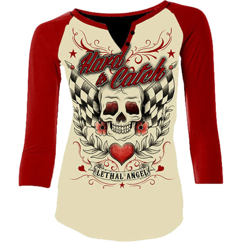 Womens Lethal Angel Hard To Catch Raglan T-Shirt Cream/Red Skull Checkered Flags