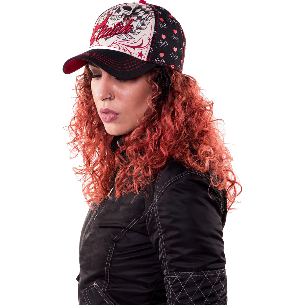 Women's Lethal Angel Hard to Catch Hat Skull Checkered Flag