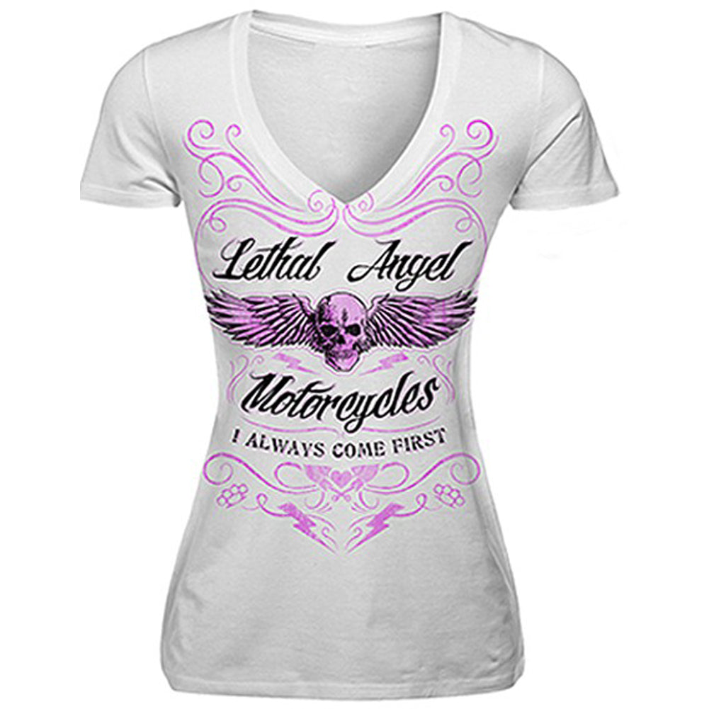 Women's Lethal Angel I Always Come First T-Shirt White
