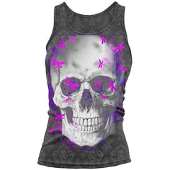 Women's Lethal Angel LA Dragonfly Skull Burnout Tank Top Grey Filigree Punk