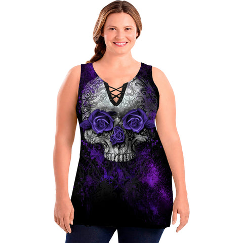 Women's Lethal Angel Lethal Angel Purple Rose Skull Plus Size Tank Top Lace Up