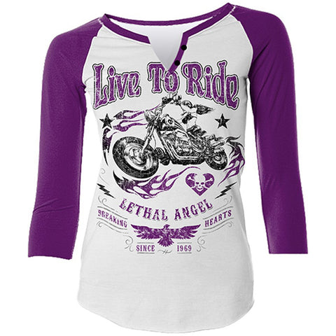 Women's Lethal Angel Live To Ride Baseball T-Shirt