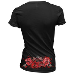 Women's Lethal Angel Original Sin V-Neck T-Shirt Black Skull Apple Snake Roses