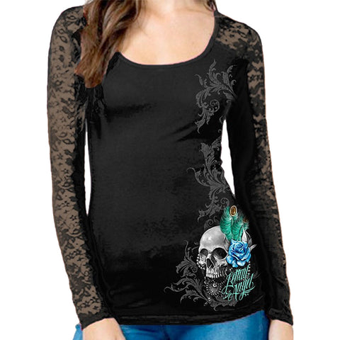 Women's Lethal Angel Peacock Feather Skull Lace Long Sleeve T-Shirt Black