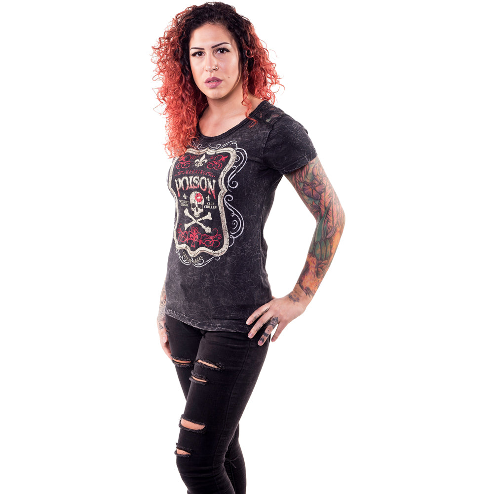 Women's Lethal Angel Poison T-Shirt Skull Crossbones