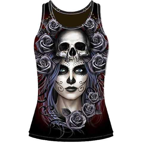 Women's Lethal Angel Queen Of Death Sublimation Tank Top Black Day of the Dead