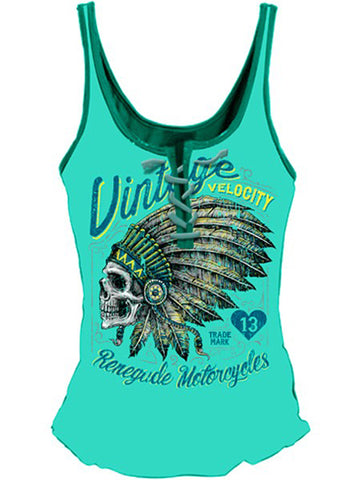 Womens Lethal Angel Renegade Motorcycles Lace Up Tank Top Turquoise Native Skull