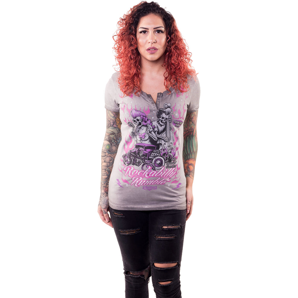 Women's Lethal Angel Rockabilly Rumble T-Shirt Skeletons Rat Rod Music