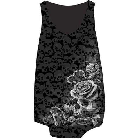 Women's Lethal Angel Rosary Skull Burnout Tank Top Black Roses Tattoo