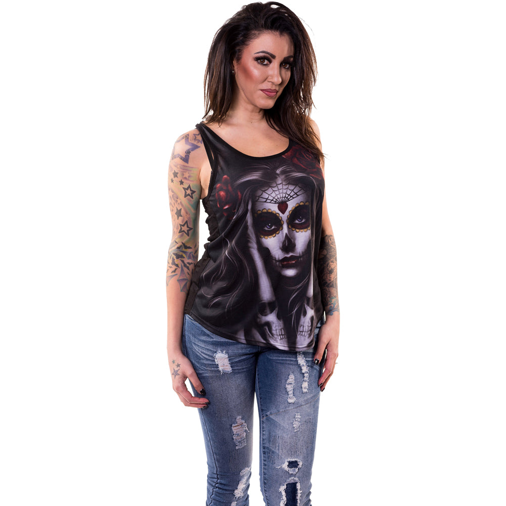 Women's Lethal Angel Skull Arm Tattoo Razor Back Tank Top Day of the Dead