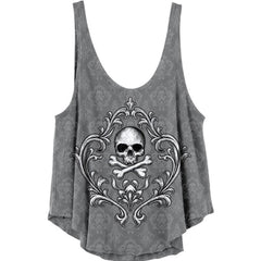 Women's Lethal Angel Skull N Crossbones Burn Out Drape Tank Top Grey Filigree