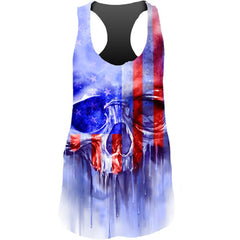 Women's Lethal Angel USA Painted Skull Sublimation Racerback Tank Top Blue Punk
