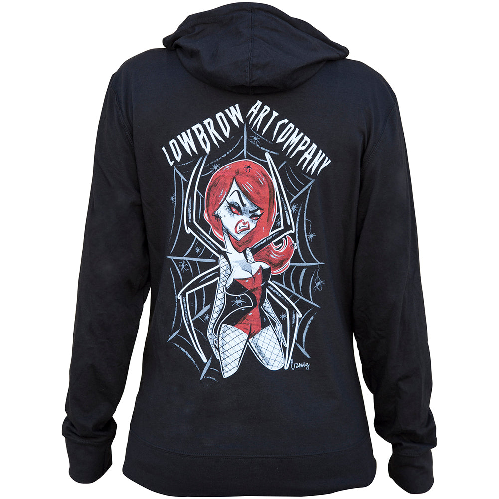 Women's Lowbrow Art Spider Girl Hoodie Black Spiderweb
