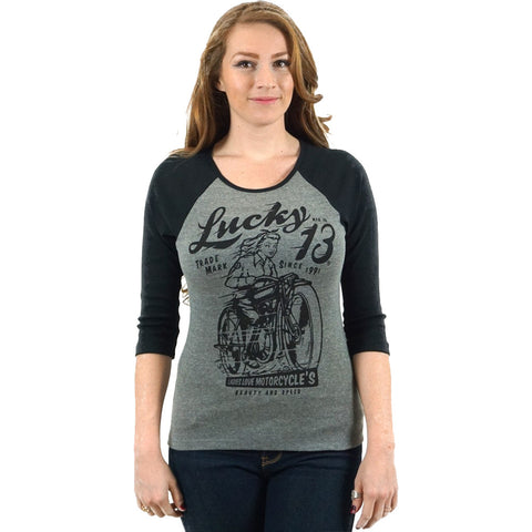 Women's Lucky 13 Beauty and Speed 3/4 Sleeve Raglan T-Shirt Vintage Motorcycle