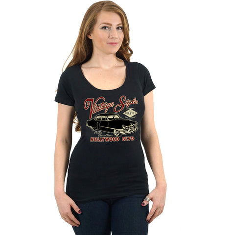 Women's Lucky 13 Classy Chassis Scoop Neck T-Shirt Black Classic Car Vintage