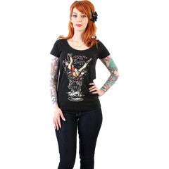 Women's Lucky 13 Down With the Ship Scoop Neck T-Shirt Black Tattoo Flash Art