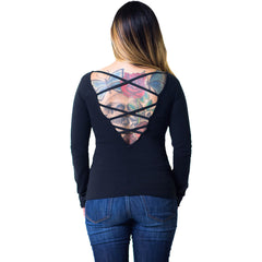 Women's Lucky 13 Never Look Back Long Sleeve Lace Up Back Raglan Top Black