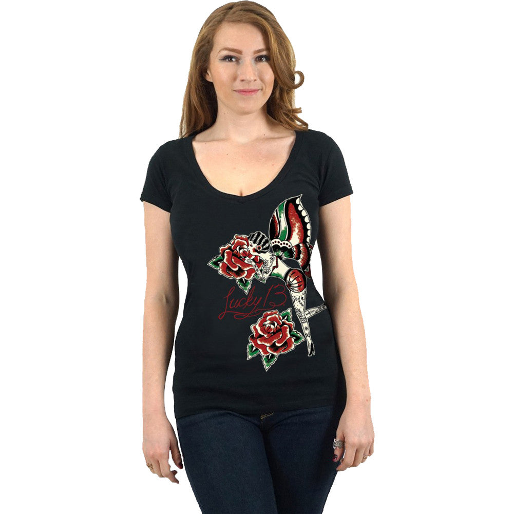 Women's Lucky 13 Rose Fairy Deep V Neck T-Shirt Black Tattooed Lady